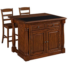 Montmarte Oak Granite-Top Kitchen Island with Two Stools