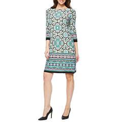 London Style 3/4 Sleeve Shift Dress