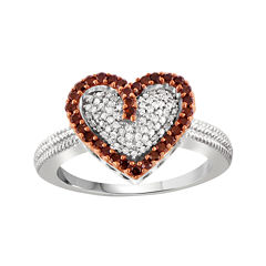 1/2 CT. T.W. White & Color-Enhanced Red Diamonds Sterling Silver Heart Ring