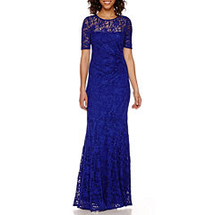 One By Eight Short-Sleeve Lace Formal Gown