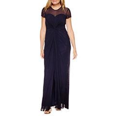 Blu Sage Short Sleeve Evening Gown-Petites
