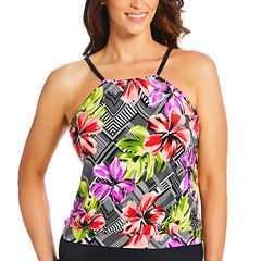 St. John's Bay High Neck Blouson Selena Swimsuit Top