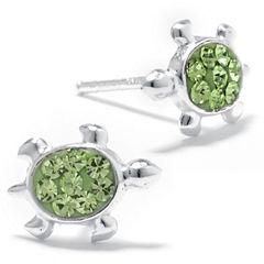 Silver Treasures Round Green Stud Earrings