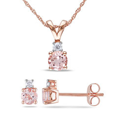 Womens 2-pc. 1/10 CT. T.W. Pink Morganite 10K Gold Sterling Silver Jewelry Set
