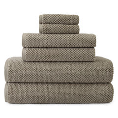 JCPenney Home™ Quick Dri Textured Solid 6-pc Bath Towel Set