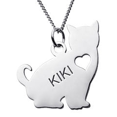 Personalized Sitting Cat Sterling Silver Pendant Necklace