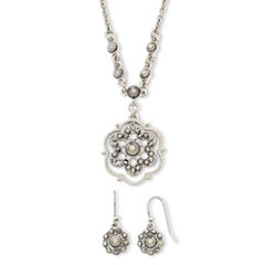 Liz Claiborne® Simulated Marcasite Pendant Necklace & Drop Earring Set