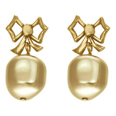 dom by dominique cohen Gold-Tone Pearlescent Bow Earrings