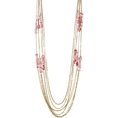 ROX by Alexa Red & Coral Glass Station 5-Row Necklace