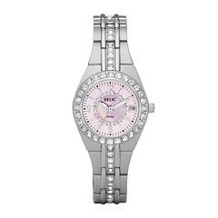 Relic® Womens Crystal-Accent Pink Dial Watch ZR11787