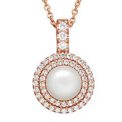 Certified Sofia™ Bridal Cultured Freshwater Pearl & Swarovski® Cubic Zirconia Pendant