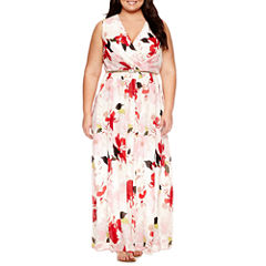 Dr Collection Sleeveless Floral Maxi Dress-Plus