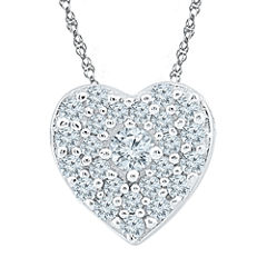 Womens 1/5 CT. T.W. White Diamond 10K Pendant Necklace Set