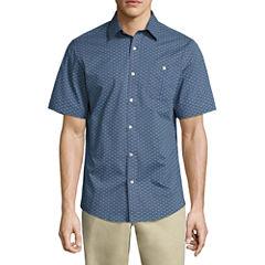 Claiborne Short Sleeve Pattern Button-Front Shirt
