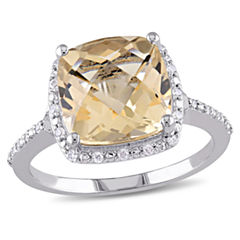 Womens 1/10 CT. T.W. Genuine Yellow Citrine Sterling Silver Cocktail Ring