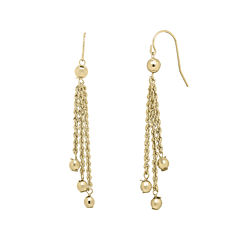 Infinite Gold™ 14K Yellow Gold Bead Station Lariat Earrings
