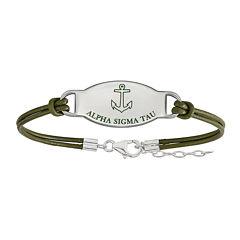 Alpha Sigma Tau Enameled Sterling Silver Oval Leather Bracelet