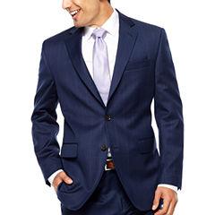 Stafford Super 100's Navy Windowpane Suit Jacket-Classic
