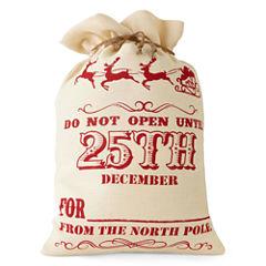 North Pole Trading Co. Winter Lodge Open The 25th Burlap Santa Bag