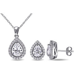 Lab-Created White Sapphire Sterling Silver Earrings & Pendant 2-Piece Set