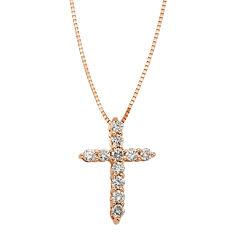 14K Rose Gold 1/4 CT. T.W. Diamond IGL Certified Cross Pendant Necklace