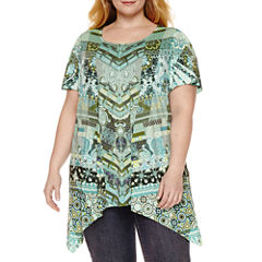 Unity World Wear Short Sleeve Scoop Neck Pattern T-Shirt-Womens Plus