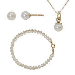 Girls Cultured Freshwater Pearl 14K Gold 3-pc. Jewelry Set