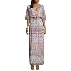 Love Reigns 3/4 Sleeve Pattern Maxi Dress-Juniors