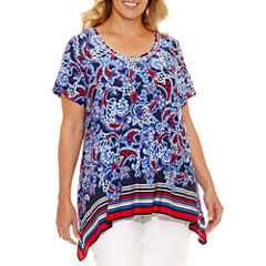 Lark Lane Summer Spirit Sharkbite Hem Tunic-Plus