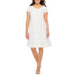 Studio 1 Short Sleeve Lace Floral Shift Dress