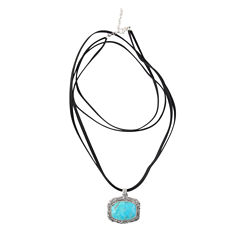 Artsmith By Barse Womens Blue Bronze Pendant Necklace