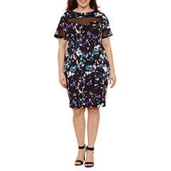 Boutique + Short Sleeve Mesh Insert Knit Bodycon Dress-Plus