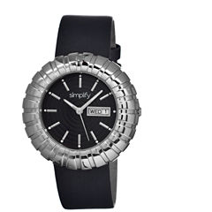Simplify Womens The 2100 Silver With Black Dial Leather-Band Watch With Day&Date Sim2102