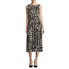 Perceptions Sleeveless Animal Fit & Flare Dress