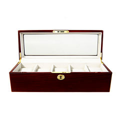 5 Watch Dark Wood Watch Box