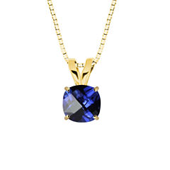 Lab-Created Checkerboard Cut Blue Sapphire 10K Yellow Gold Pendant Necklace