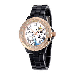 Disney Cinderella Womens Crystal-Accent Black Bracelet Watch