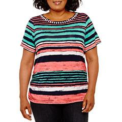 Lark Lane Must Haves Short Sleeve Stripe T-Shirt- Plus