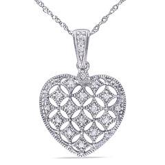 Womens 1/7 CT. T.W. White Diamond 14K Gold Pendant Necklace