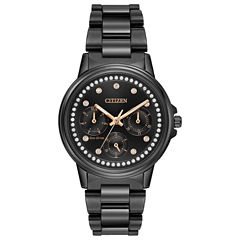 Citizen® Eco-Drive Ladies' Black Ion Plated Watch With Swarovski Crystal Accents Fd2047-58E