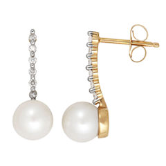 Certified Sofia Cultured Freshwater Pearl & Diamond Accent 10K Yellow Gold Earrings
