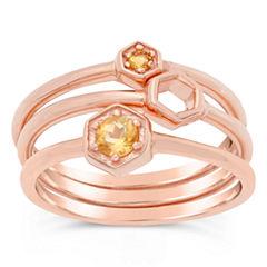 Womens Genuine Round Yellow Citrine 18K Stackable Ring