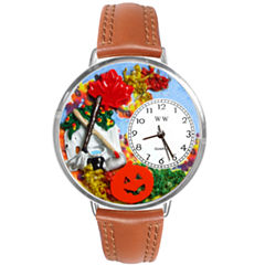 Whimsical Watches Personalized Autumn Leaves Womens Silver-Tone Bezel Tan Leather Strap Watch