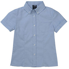 French Toast Short Sleeve Oxford Blouse with Darts - Big Kid Girls