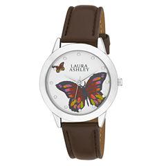 Laura Ashley Ladies Silver Butterfly Dial Watch La31014Ss