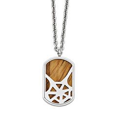 Mens Tigers Eye Stainless Steel Dog Tag Pendant