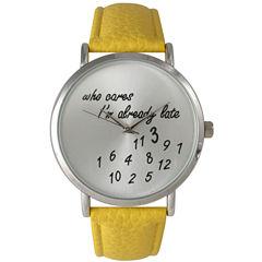 Olivia Pratt Womens Silver-Tone with Yellow Leather Strap Watch 13569