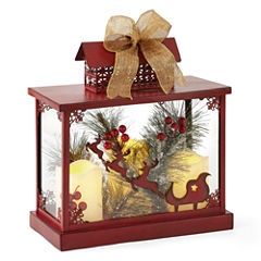 North Pole Trading Co. Christmas Cheer Red Decorative Lantern with LED Candles