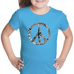 Los Angeles Pop Art Peace; Love; & Music Short Sleeve Graphic T-Shirt Girls
