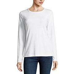 St. John's Bay Long Sleeve Crew Neck T-Shirt-Womens